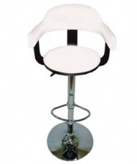 Дървен бар стол,тапициран с облегалка,бяло/черно