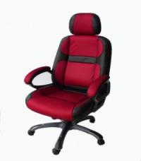 Черно-червен директорски стол еко кожа