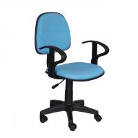 Работен офис стол светло синя дамаска