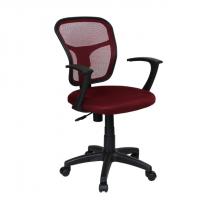 Красив офис стол с мрежа в тъмно червено