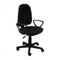 Тапициран офис стол с висока облегалка в черно
