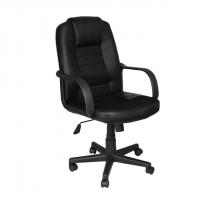 Кожен директорски офис стол черен