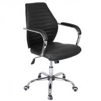 Офис стол с метална база в черна еко кожа