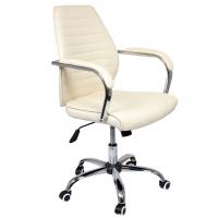 Бежов директорски стол с метална основа