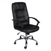 Черен офис стол с метална база и висока облегалка