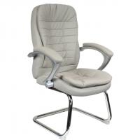 Посетителско кресло в сива еко кожа база хром