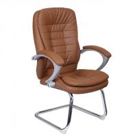 Посетителско кресло в кафе еко кожа база хром