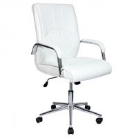Красив бял президентски стол с еко кожа