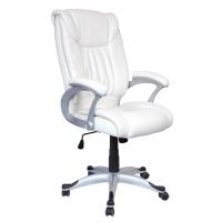 Луксозен директорски стол бяла еко кожа