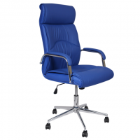 Луксозен президентски стол синя еко кожа