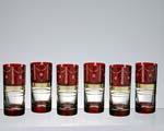 Комплект чаши за вода от червен кристал - 08- 6 бр