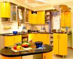 Нестандартен проект за кухня по поръчка в патешко жълто 536-2616