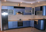 Кухня по поръчка в син металик 545-2616