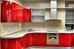 Интересен дизайн за кухня в червено по поръчка 554-2616