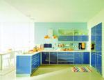 Проект на кухня в синьо и зелено 558-2616