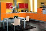 Оранжево-червен проект за кухня 559-2616