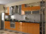 Поръчкова кухня в сребристо и светло кафяво 560-2616