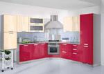 Проект за кухня в червено и светло бежово 583-2616