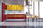 П - образна кухня по поръчка в червено и оранжево 606-2616