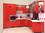 Червени мебели за кухня по проект Овал 609-2616