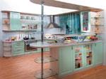Закачлив проект на кухня с преобладаващ зелен цвят 614-2616