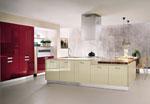 Поръчкова кухня - съчетание от вградени кухненски мебели и отделен кухненски плот 619-2616