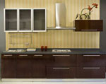 Семпъл дизайн в тъмно кафяво за кухня по поръчка 714-2616