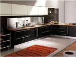 Черни мебели по поръчка за кухня с бял акцент 715-2616