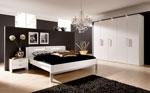 Спалня по идея на клиента в черно и бяло, с двойна табла за леглото 101-2618