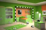спалня с футболни мотиви