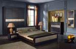 Спалня по поръчка в черно с 2 бр. нощни шкафчета, трикрилен гардероб и ракла