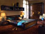 Дизайн за спалня по поръчка от лакиран ПДЧ с трикрилен гардероб 184-2618