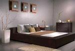 Черна спалня по поръчка, тапицирана с черна кожа и с ниска табла 232-2618