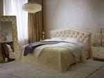Спалня по поръчка с облицовка от естествена кожа на таблата на леглото и на огледалото 251-2618