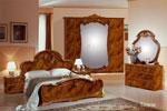 Спалня по проект в лешниково с черни и тъмно кафяви елементи с гардероб с огледало в рамка
