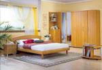 Проект за спалня с обла табла и ъглов петкрилен гардероб с вграден шкаф