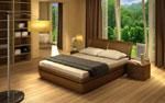 Спалня по поръчка с масивна двойна основа със заоблени ъгли