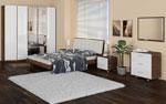 Спалня по поръчка с овални ъгли в два цвята - бяло и кафяво