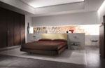 Обзавеждане по поръчка за спални в шоколадово с табла на леглото в цвят шампанско