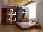 Спалня по поръчка с гардероб с външни закачалки и шкафове