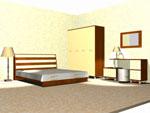 Проект на спалня по поръчка с двукрилен гардероб и малко и голямо шкафче с връзка помежду си 420-111