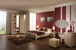 Поръчкова спалня от светло дърво с ъглов гардероб 441-2618