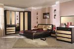 Спалня по проект от черно и бежово дърво