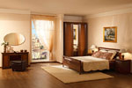 Спалня по индивидуална поръчка с гардероб, нощно шкафче и тоалетка