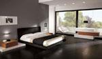 Тапицирана правоъгълна спалня по поръчка с черна текстилна тапицерия