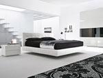 Кожена спалня по поръчка със стъпаловидни рафтове