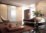 Спалня по индивидуален проект с гардероб от дърво и врата от матово стъкло