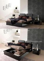 Черна спалня с ракла в минималистичен интериорен стил
