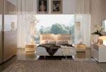 Поръчкова спалня, изпълнена от естествен фурнир, светъл; с вграден гаредроб и тапицирана табла 529-1