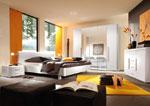 Спалня по индивидуален проект в жълто, черно и бяло